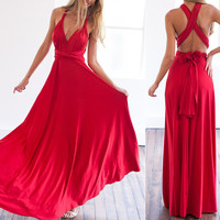2016 Summer Sexy Women Maxi Dress Red Beach Long Bandage Multiway Convertible Dresses Infinity Wrap Robe Longue Femme Lady Dress