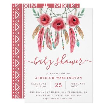 Boho Floral Dream Catcher Baby Shower Invitation