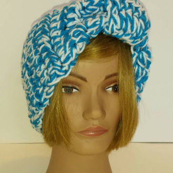 Ready to ship! Handmade Crochet Blue and white double thickness headwrap!