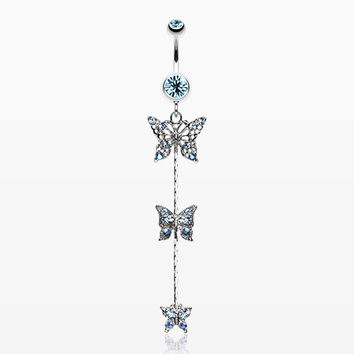 Triple Butterfly Sparkle Belly Ring