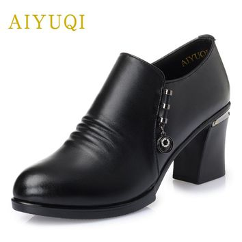 AIYUQI 2018 new genuine leather women's shoes spring fashion high-heeled shoes deep mouth with a single shoes mother shoes women
