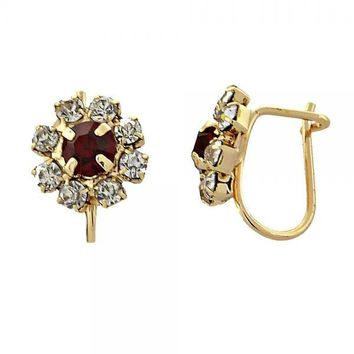 Gold Layered 02.150.0006 Leverback Earring, Flower Design, with Garnet and White Cubic Zirconia, Polished Finish, Gold Tone