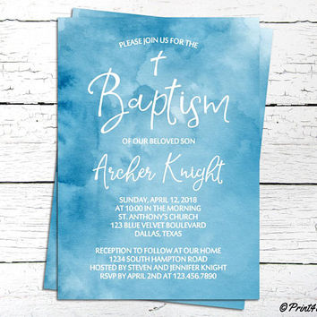 Baptism Invitation / Blue Personalized Printable Baptism Christening Communion Watercolor Invitation / Christening invite