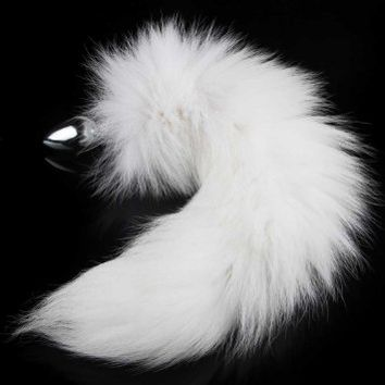 Utimi Wild Stainless Steel White Fox's Tail's Butt Plug,Sexual Show,SM Special Sex Toy for Adults (White tail) (16 Inches)