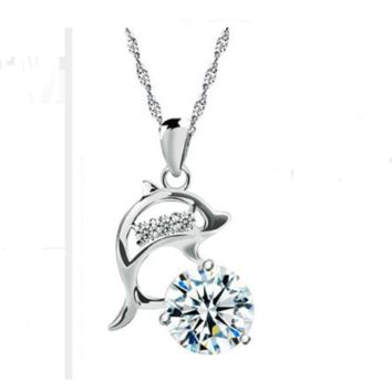 Dolphins Rhinestone and Cubic Zirconia Silver Plated Creative Pendant Necklace