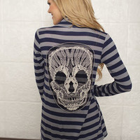 Striped Skull Cardigan Navy CLEARANCE