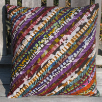 Decorative Batik Throw Pillow Cover 18 x 18 - Quality Wax Print Ghana Textiles