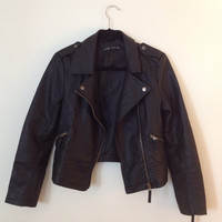 Zara Vegan Leather Biker Motorcycle Jacket