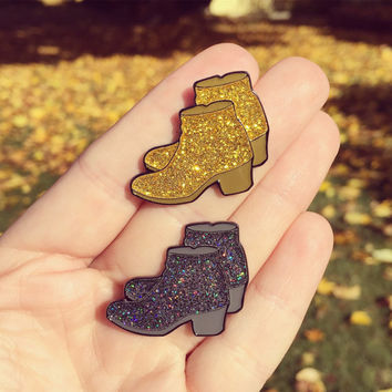 Glitter Booties Enamel Pin