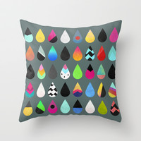 Colorful rain Throw Pillow by Elisabeth Fredriksson