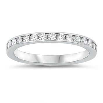 Sterling Silver 3mm Band of Cubic Zirconia Stacking Ring Wedding Band
