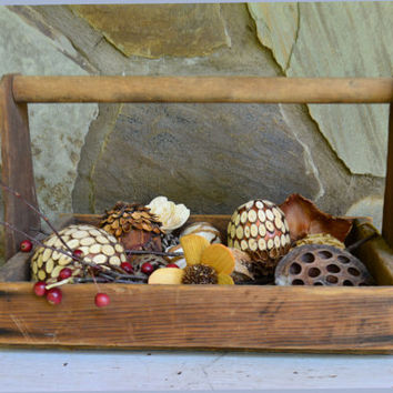 Wooden Berry Tote - Vintage Berry Basket Carrier –  Wooden Berry Carrier – Berry Picking Carryall - Handmade Wooden Carryall