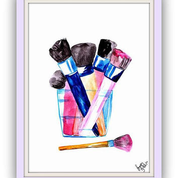Makeup brushes holder, watercolor painting, Printable, Wall Art decor, decal decals, print, gifts, modern, shimmer, serum,chanel brush