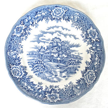 Romantic Blue Salem China Plates English Village Olde Staffordshire English Ironstone Transferware Underglaze French Country Home Decor