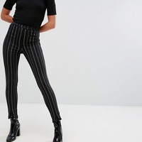 Monki Pinstripe Slim Leg Pants at asos.com