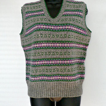 Fair Isle 100% Shetland Wool Sweater Vest - Eagle's Eye - Gray, Pink, & Green Fair Isle Stripes - Women's Size 40