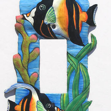 Tropical Fish Switch Plate - Hand painted metal rocker switchplate cover, Handcrafted in Haiti - Light Switch Cover - SR-1115-1