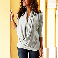 Women Sexy Breastfeeding V Neck 3/4 Sleeve Tops Tee - Plus Size S-XL