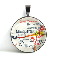 Road Map Pendant of Albuquerque New Mexico by CarpeDiemHandmade