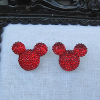 Mickey Mouse Disney Inspired Red Rhinestone Post Earrings