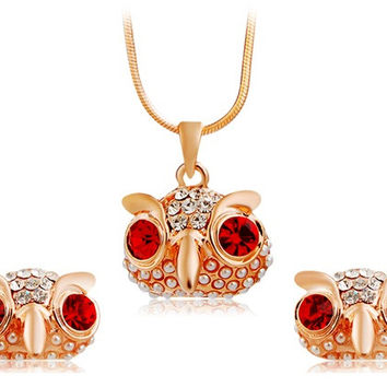 NEOGLORY Crystal Decorated Red Eyed Owl Pendant Alloy Necklace & Earrings Set