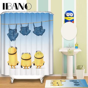 Minions Shower Curtain Pattern Customized Shower Curtain Waterproof Bathroom Fabric 165x180cm Shower Curtain For Bathroom