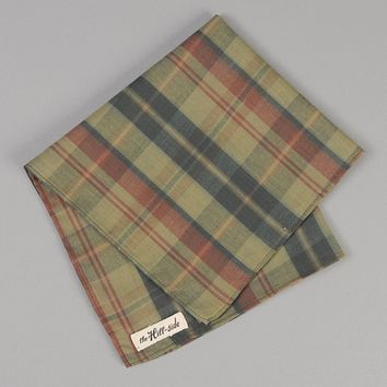 OD Indian Madras Pocket Square, Faded Red / Blue Check