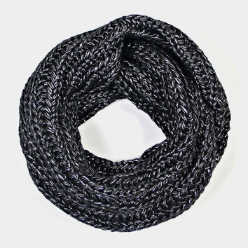 Metallic Chunky Knit Infinity Scarf - Charcoal