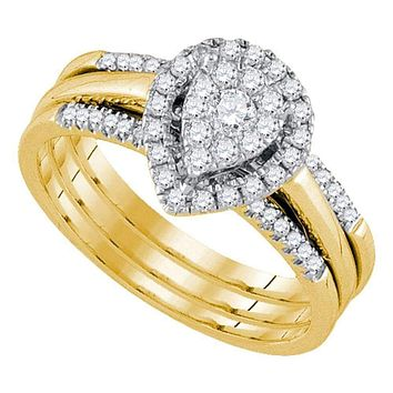 14kt Yellow Gold Women's Diamond Teardrop Cluster Bridal Wedding Engagement Ring Band Set 1/2 Cttw - FREE Shipping (US/CAN)