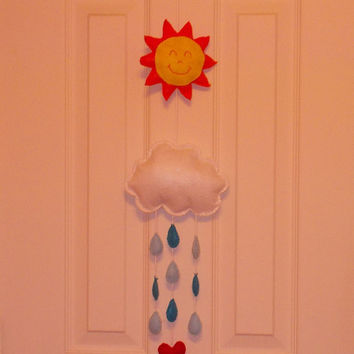 Storybook Felts Your Are My Sunshine Children's Felt Mobile With Sun Cloud Rain And Love