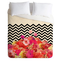 Bianca Green Chevron Flora 2 Duvet Cover
