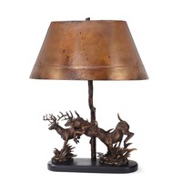 Living Large Whitetails Copper Table Lamp