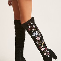 Embroidered Over-the-Knee Boots