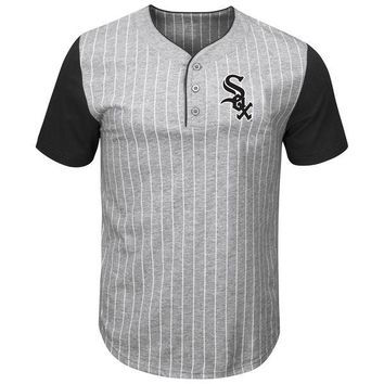 Men's Chicago White Sox Majestic Gray/Black Life Or Death Pinstripe Henley T-Shirt