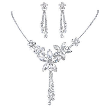 EVER FAITH® Bridal Silver-Tone Hibiscus Flower Earrings Necklace Set Clear Austrian Crystal