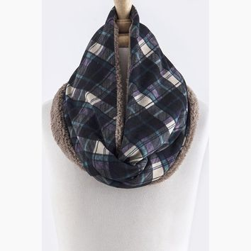 Plaid Fleece Infinity Scarf, Blue