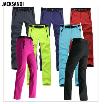 JACKSANQI Winter Women's Thick Warm Fleece Softshell Pants Outdoor Sport Waterproof Hiking Skiing Camping Female Trousers RA132