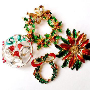 Vintage Christmas Brooch Lot Wreath Bells Festive Holiday Poinsettia Broach Pin Wedding Ugly Christmas Sweater Instant Collection
