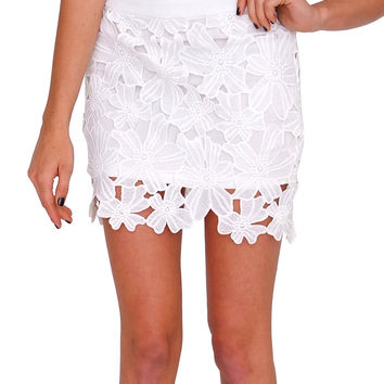 Adore You Lace Mini Skirt - White