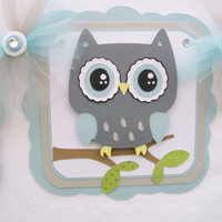 Grey owl baby shower banner, its a boy banner, chevron, grey and light blue