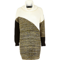 River Island Womens Cream patchwork cowl neck knitted dress