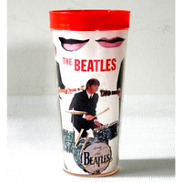 Early 60's Beatles Memorabilia Kissing Lips Thermal Cup