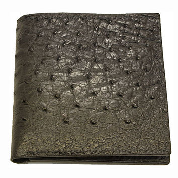 Ostrich Skin Hipster Wallet in Black - Real Ostrich Hide - Free Shipping to USA