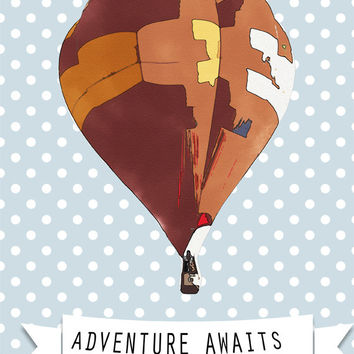 Adventure Awaits - DIGITAL DOWNLOAD - Printable Graphics, Typography Home Decor - Nursery Art, Kids Room Quote, Polka Dots Decoration