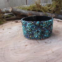 Cuff bracelet with various color iridescent beads and turquoise stones. Magnetic closure. Perfect stacking piece! - Turquoise sparkle