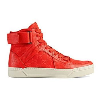 HCXX Gucci Men's Coral Red Nylon Leather GG Guccissima High Top Sneakers Shoes