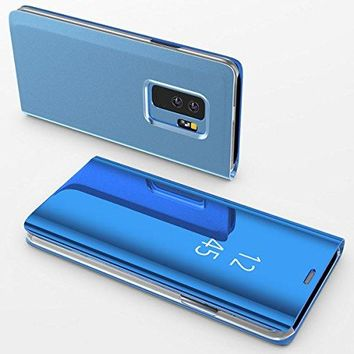For Galaxy S9 Case,Electroplating Ultra-thin Translucent Mirror Clear Luxury Shockproof Protective Metal Aluminum Flip Stand Cover Case for Samsung Galaxy S9 Blue