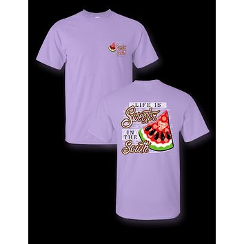 Sassy Frass Life is Sweeter in the South Watermelon Girlie T Shirt