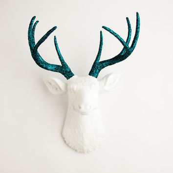 The Jackson - White W/ Turquoise Glitter Antlers Resin Deer Head- Stag Resin White Faux Taxidermy