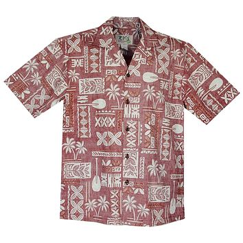 Hieroglyphics Red Cotton Vintage Hawaiian Shirt